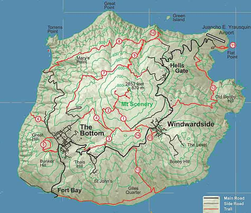 Saba Island Trail Map