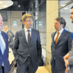 State Secretary Sander Dekker (second from left) with Members of the Second Chamber Paul van Meenen of D66 (left), Chairman of the Kingdom Relations Committee Jeroen Recourt (second from right) and Roelof van Laar, both of PvdA. (Suzanne Koelega photo)