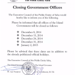 Closing of Government offices
