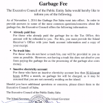 Garbage fee update