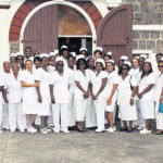 Nurses at the Roman Catholic Church in The Bottom with Dr. Joka Blaauboer (left), Rosetta Riley (middle) and Bruce Zagers (right)