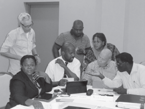 Statia's disaster team working on an exercise during the workshop.