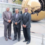From left: Statia's Commissioner of Constitutional Affairs Reginald Zaandam, PLP party leader and Island Council Member Clyde van Putten, and UPC leader in the Island Council Reuben Merkman in front of the United Nations building in New York earlier this week.