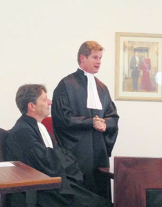 Attorney-General Guus Schram (left) with new Prosecutor Henk Jan Starrenburg.