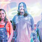 From left: Saba Idol host Wolfgang Tooten with finalists Sheritsa Oleana (Saba), Joel Tellez (USA) and Mandy Zamani (USA).