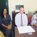 From left: Melissa Spanner, Chief Prosecutor Henry Hambeukers and Communication Advisor at Government Service Caribbean Netherlands RCN Alida Francis at the Prosecutor's Office in Fort Oranje.