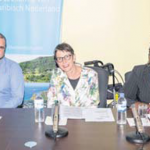 From left: Commissioner of Social Affairs and Labour Chris Johnson, State Secretary of Social Affairs and Employment Jetta Klijnsma and Communication Advisor Alida Francis.