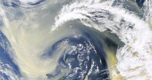 Hundreds of millions of tons of dust are picked up from the deserts of Africa and blown across the Atlantic Ocean each year. (Credit: NASA'S Earth Observatory)