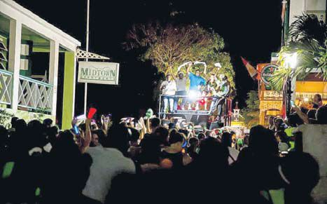 Revellers jamming in the lighted parade which kicked off the 2016 Carnival season in Saba. (STK photo)